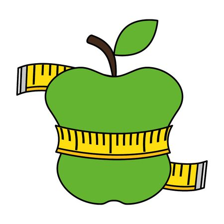 tape measure with apple fruit vector illustration design