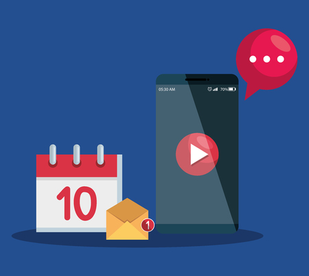 smartphone technology with digital video and calendar with letter app vector illustration