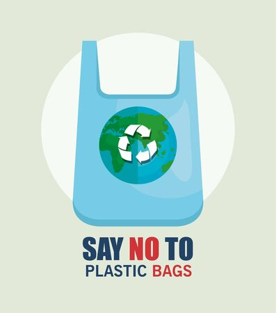 recycle plastic bag to stop the waste problem vector illustration