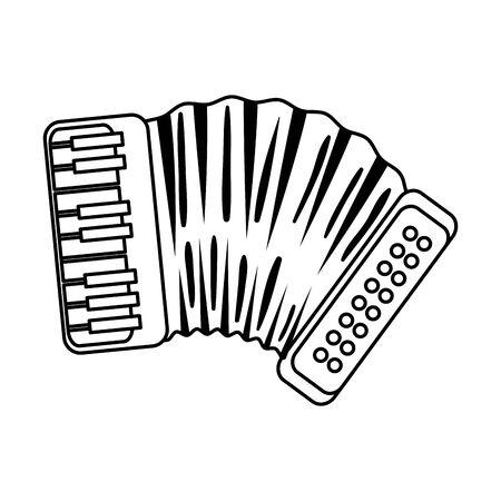 Diseño de ilustración de vector de icono de instrumento de música de acordeón