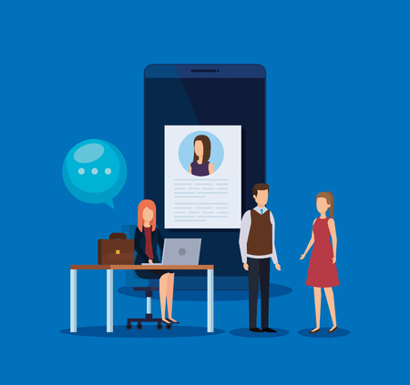 businesspeople with curriculum vitae and chat bubble vector illustration