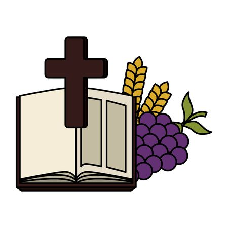holy bible with cross and grapes vector illustration design  イラスト・ベクター素材
