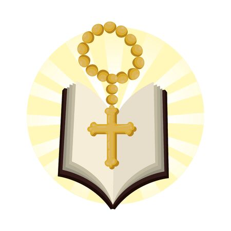 holy bible with rosary vector illustration design Illustration