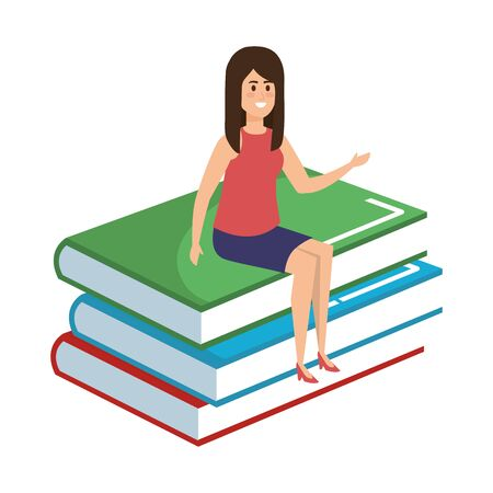 young teacher female sitting in books character vector illustration design