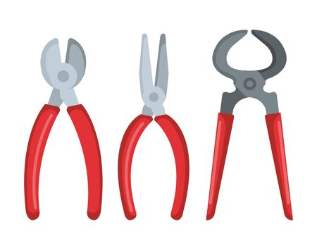 set pincersand pliers equipment to industry work vector illustration