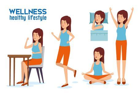 set woman lifestyle balance with sleep, relaxation and eat vector illustration Illustration