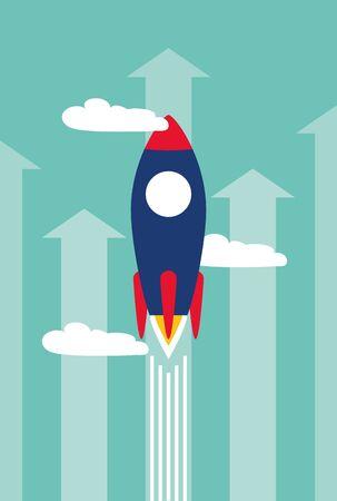 launching rocket start arrow growth business success vector illustration