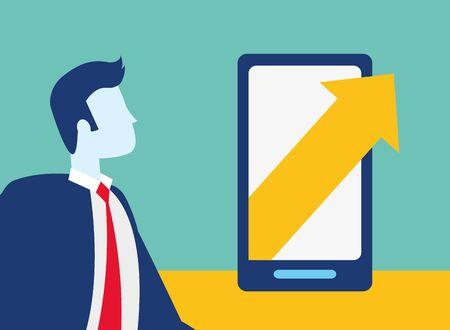 businessman smartphone arrow growth business success vector illustration
