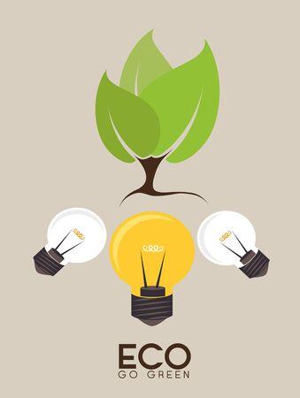 Ecology design over beige background, vector illustration.