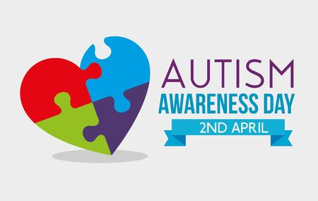 heart puzzle with ribbon to autism day vector illustration