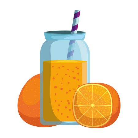 fresh tangerine with juice pot and straw vector illustration design