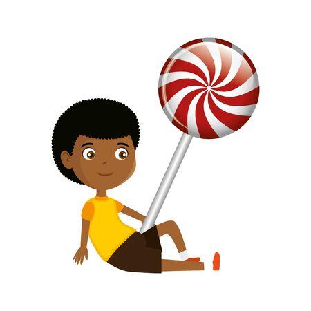 little black boy with sweet lollipop candy vector illustration design