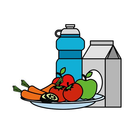 dish with salad and beverages vector illustration design Ilustração