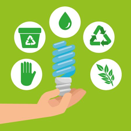 hand with save bulb and ecology element vector illustration 向量圖像