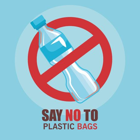 toxic plastic bottle and say no more bags vector illustration Vettoriali