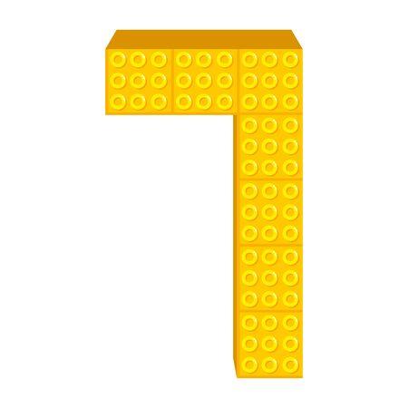 number seven with toy pieces vector illustration design Illusztráció