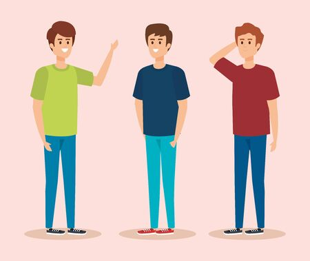 set boys with fashion hairstyle and casual clothes vector illustration