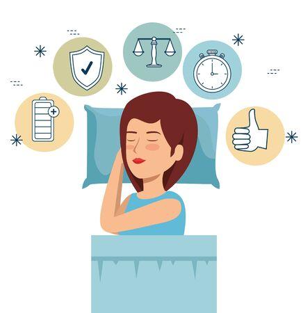 woman sleeping to health lifestyle balance vector illustration Çizim