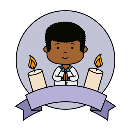 little black boy with ribbon and candles first communion vector illustration design Banque d'images - 124550853