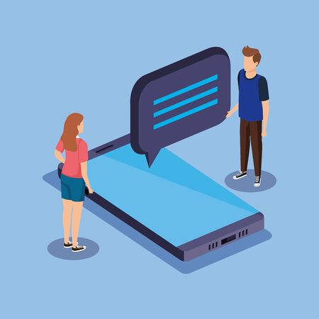 woman and man with smartphone technology and chat bubble vector illustration Illustration