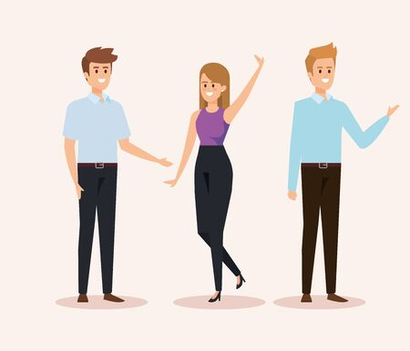 set of woman and men with hairstyle and casual clothes vector illustration