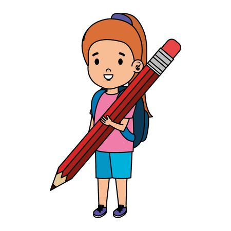 little girl student with pencil vector illustration design Stock Vector - 124552797