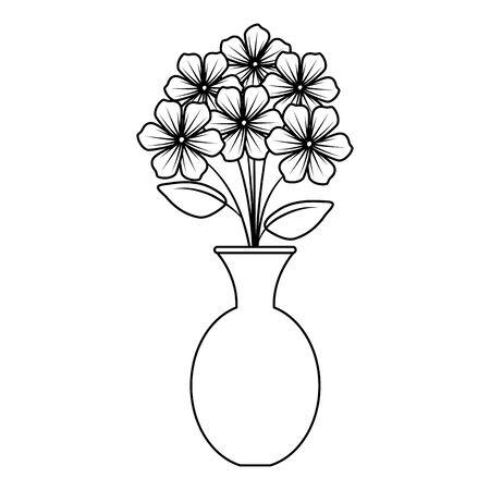 Vase avec des fleurs design illustration vectorielle icône