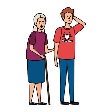 young man volunteer helping a grandmother vector illustration design