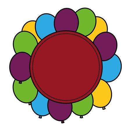 circular frame with balloons helium vector illustration design 일러스트