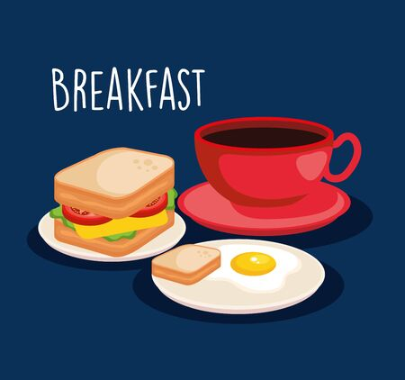 fried egg with sandwich and coffee cup vector illustration