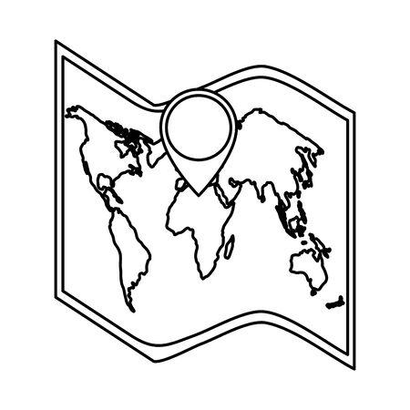 Mapa de papel con diseño de ilustración de vector de ubicación de pasador Ilustración de vector