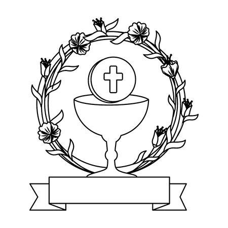 eerste communie in kelk met bloemenkroon vectorillustratieontwerp