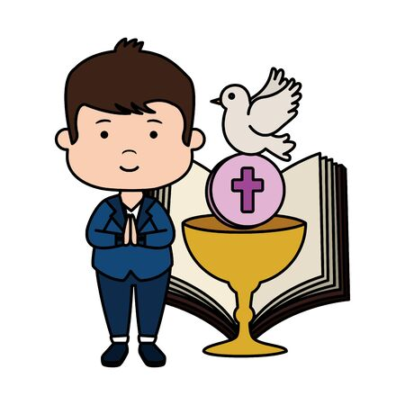 little boy with bible and chalice first communion vector illustration design Stock Illustratie