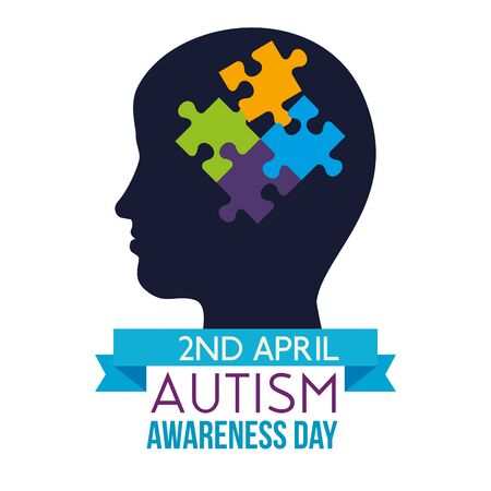 kid silhouette with puzzles to autism day vector illustration Illustration