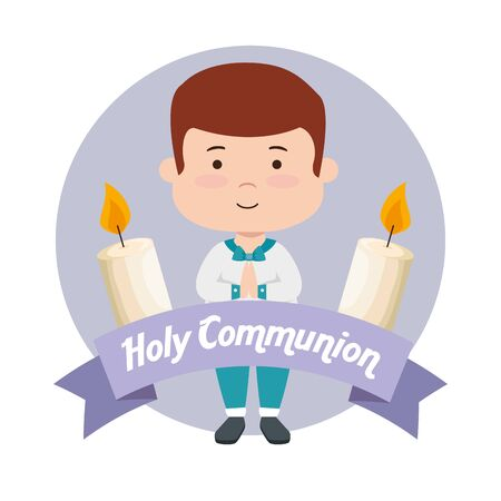 boy with candles and ribbon to first communion vector illustration