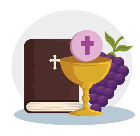 catholic bible and chalice with holy host to event vector illustration
