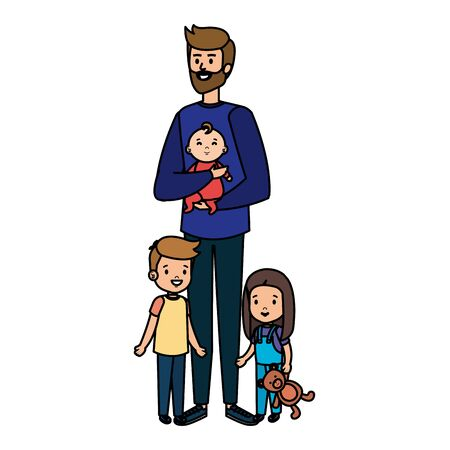 parents couple with kids characters vector illustration design Vektoros illusztráció