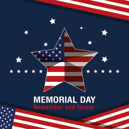 star usa flag to memorial day vector illustration