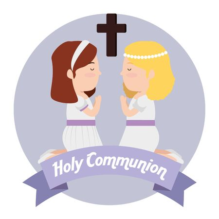 girls with dress and cross to first communion vector illustration