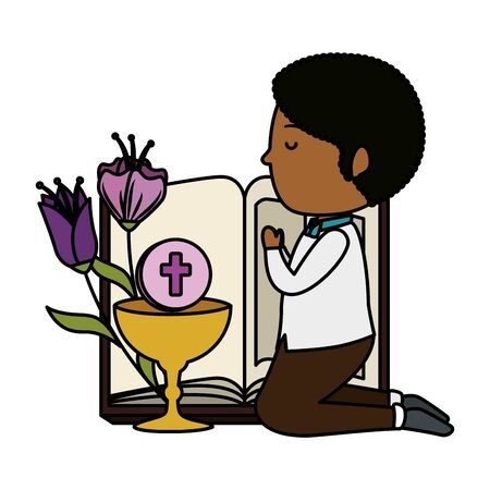 little black boy kneeling with bible and chalice first communion vector illustration Stock Illustratie