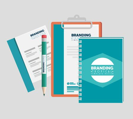 business clipboard with notebook and business pepers with pencil vector illustration Stock Illustratie
