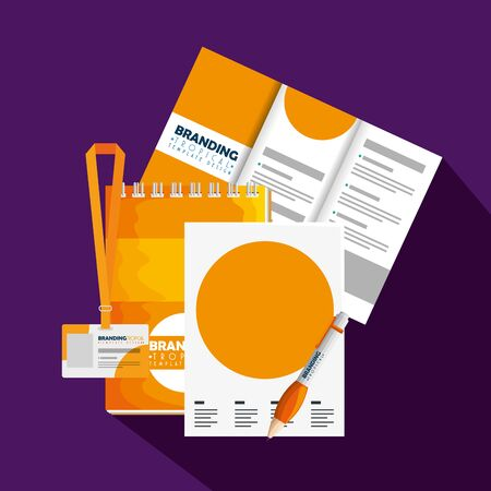 business brochure with business license and paper document vector illustration