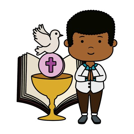 little black boy with bible and chalice first communion vector illustration design Banque d'images - 124601627