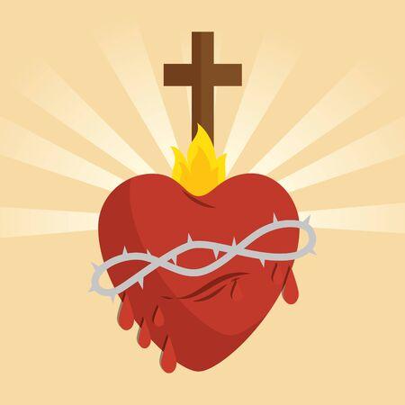 L'icône du coeur sacré de Jésus conception d'illustration vectorielle
