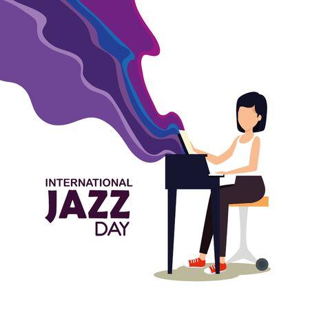 woman play piano to jazz day vector illustration Stockfoto - 124623517