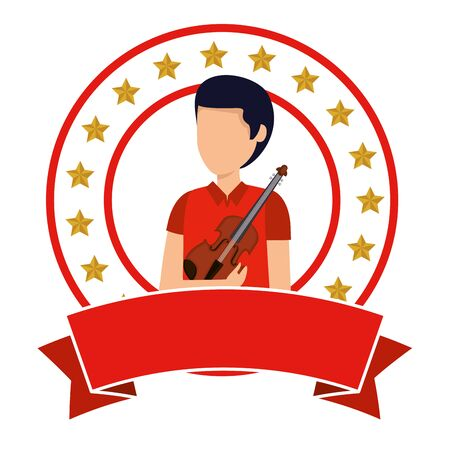 professional violinist avatar character vector illustration design Stock Illustratie