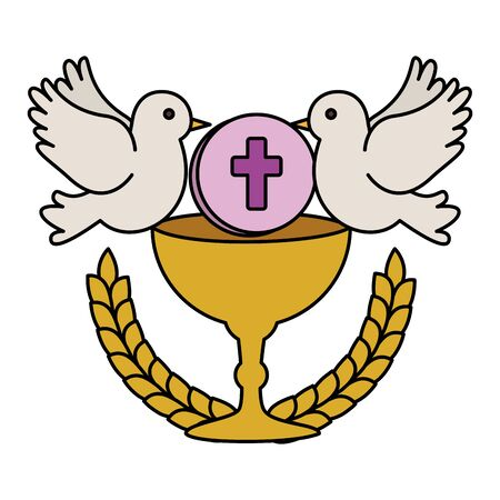first communion in chalice with doves vector illustration design 向量圖像