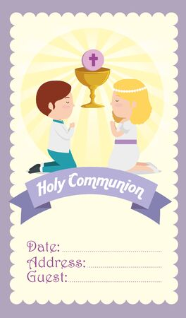 card with boy and girl to first communion vector illustration