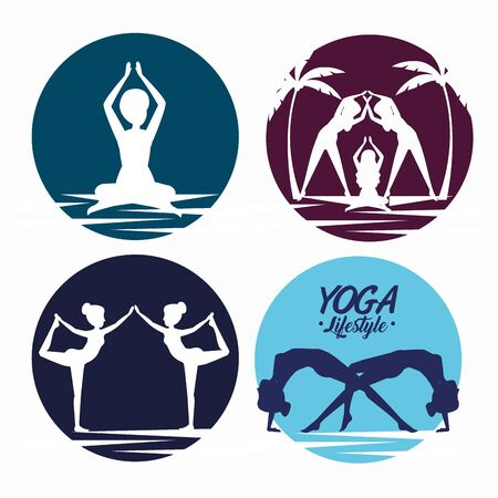 set women training yoga exercise posture vector illustration