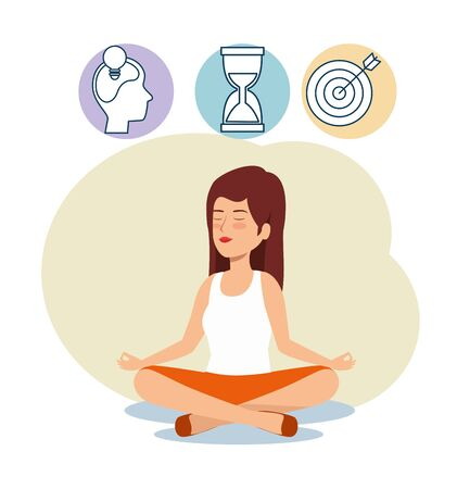woman relaxation with hourglass and target to balance vector illustration
